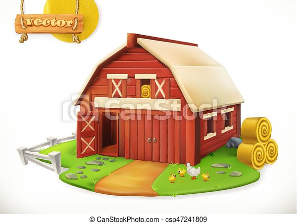Red Garden Shed, 3d Vector Icon