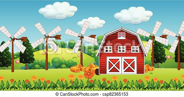 Farm scene in nature with barn and windmill - csp82365153
