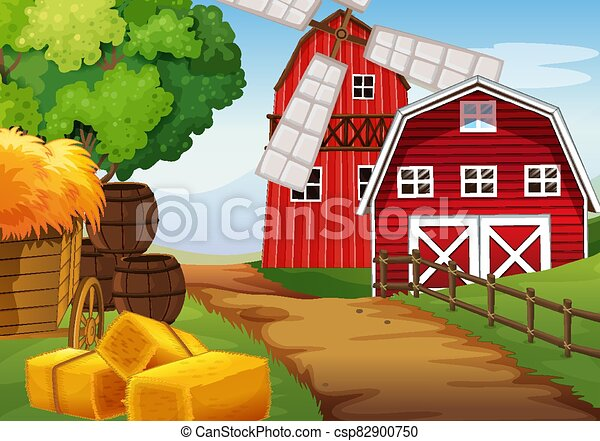 Farm scene in nature with barn and windmill - csp82900750