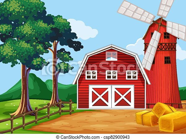 Farm scene in nature with barn and windmill - csp82900943