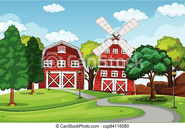 Farm scene in nature with barn and windmill - csp84116580