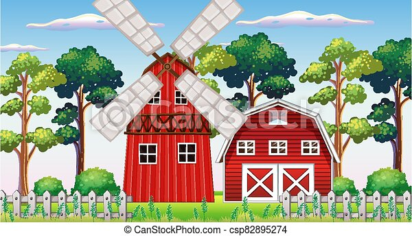 Farm scene in nature with barn and windmill - csp82895274