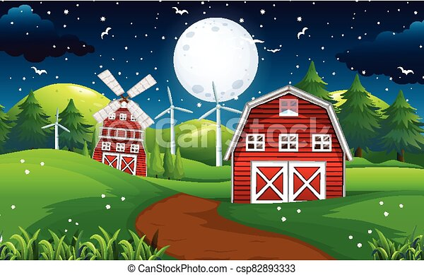 Farm scene with barn and windmill at night - csp82893333