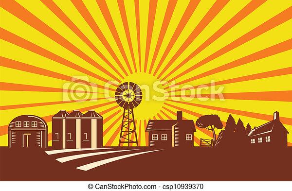 Farm Scene With Barn House Windmill Silo Retro