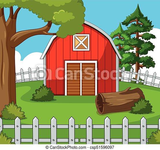Farm scene with red barn - csp51596097