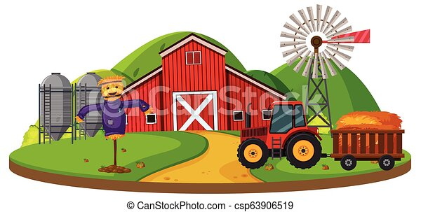 Farm scene with red barn - csp63906519