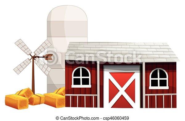 Farm scene with silo and barn - csp46060459