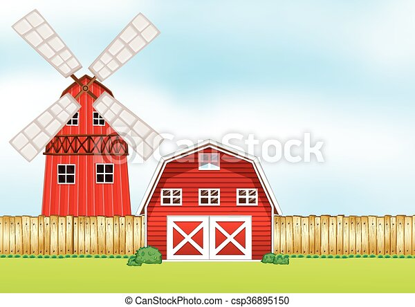 Farm scene with windmill and barn - csp36895150