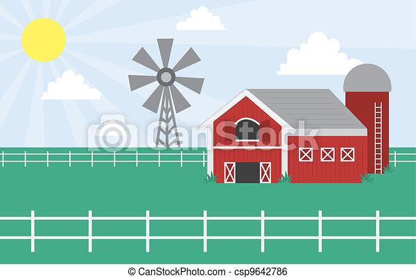 Farm Barn Drawing clip art vector of farm scene with windmill - cartoon farm with