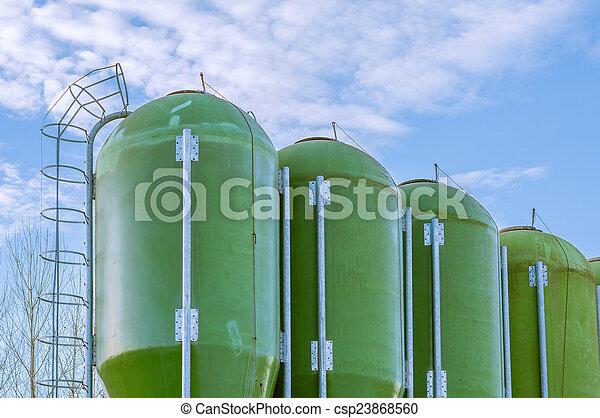 farm silos for fish farming - csp23868560
