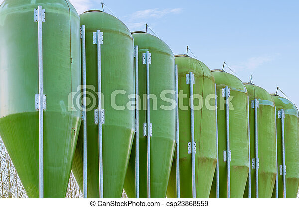 farm silos for fish farming - csp23868559