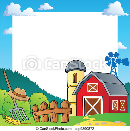 Farm theme frame 1 - csp9390872