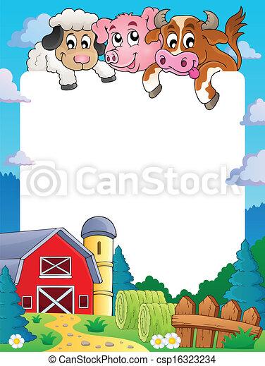 Farm theme frame 4 - eps10 vector illustration.