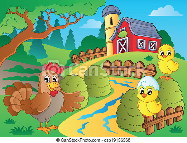 Farm theme with hen and chickens - csp19136368