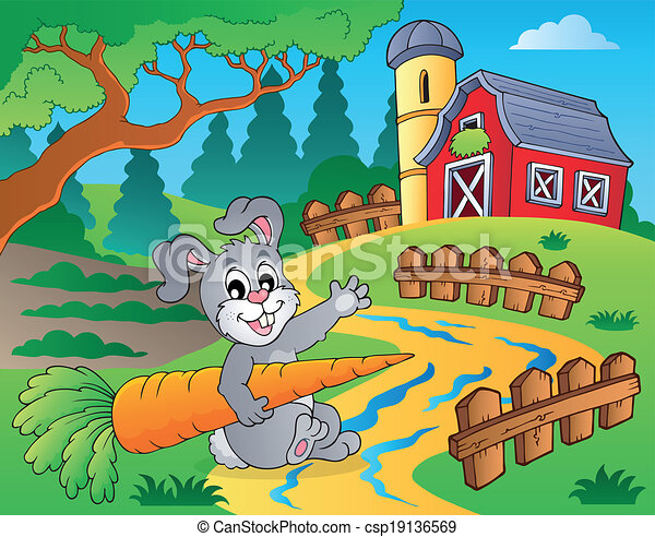 Farm theme with red barn 2 - csp19136569