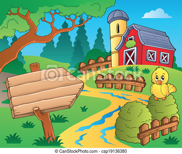 Farm theme with red barn 3 - csp19136380