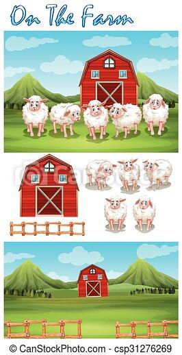 Farm theme with sheeps on the farm - csp31276269