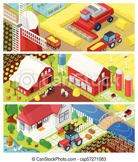 Farm vector farming agriculture in fields and farmhouse illustration agricultural set of rural house on farmland or farmyard meadow landscape background - csp57271083