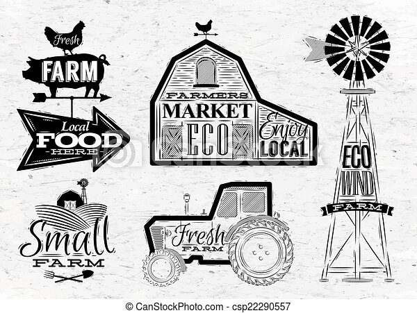 Farm Vintage Characters In Style Lettering