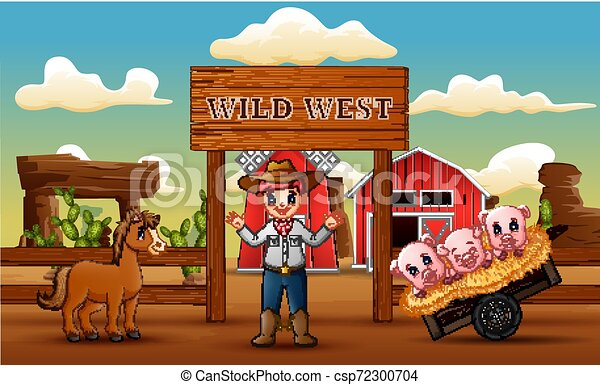 An Anteater and A Deserted Wild West Town Background – Clipart Cartoons By  VectorToons