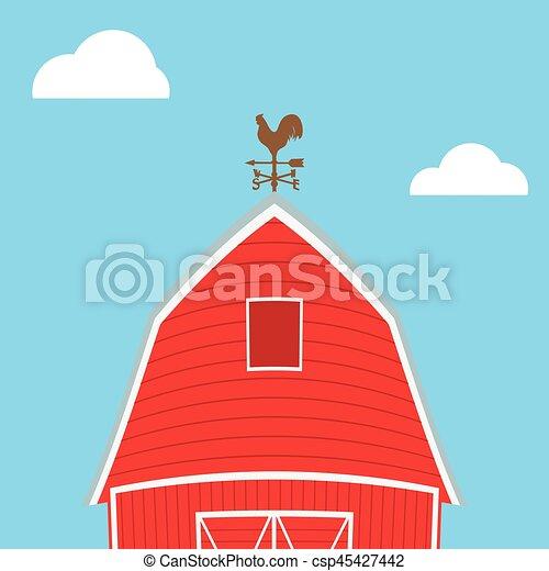 Farm windmill, barn, fence, house, field - csp45427442