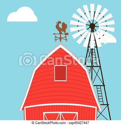 Farm windmill, barn, fence, house, field - csp45427447