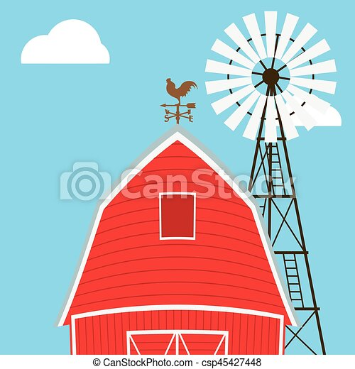 Farm windmill, barn, fence, house, field - csp45427448