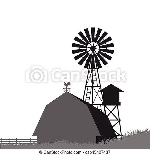 Farm windmill, barn, fence, house, field - csp45427437