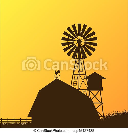 Farm windmill, barn, fence, house, field - csp45427438