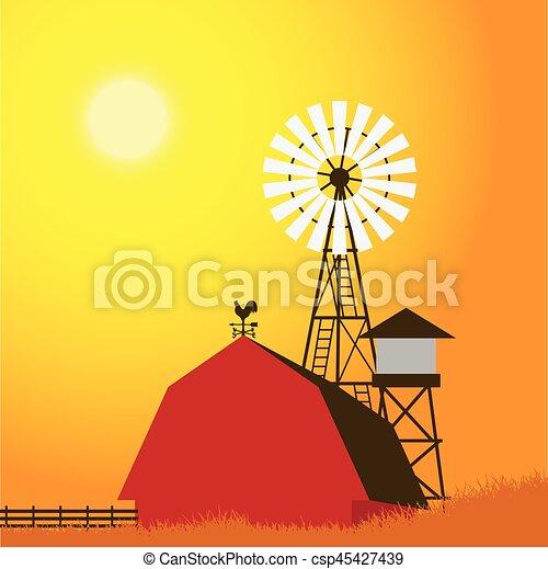 Farm windmill, barn, fence, house, field - csp45427439