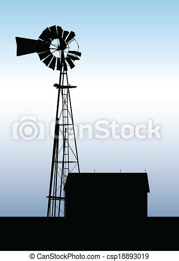 Farm Windmill Silhouette