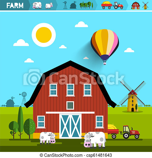Farm with Barn, Cows, Tractor and Wind Mills. Vector Rural Landscape. Farming Concept. Agriculture Design. - csp61481643