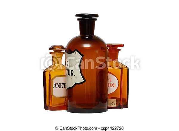 farmacéutico, antiguo, phials - csp4422728