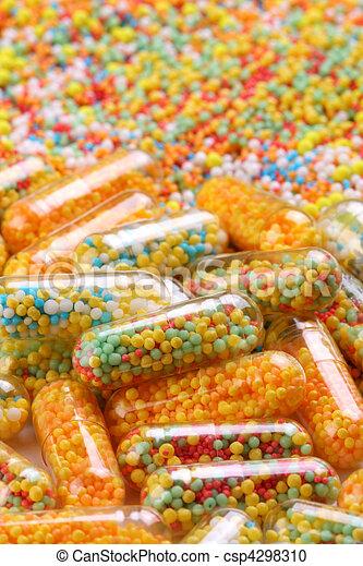 farmacéutico, cápsulas, colorido - csp4298310