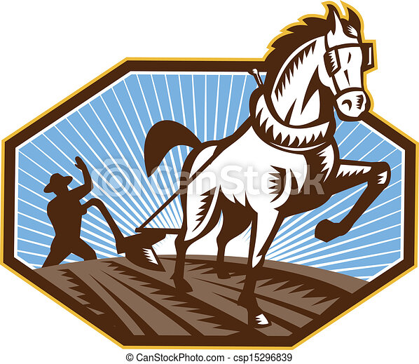 Farmer and Horse Plowing Farm Retro - csp15296839