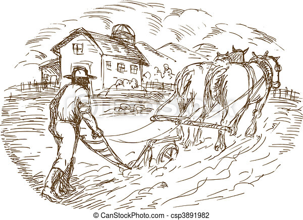 Farmer and horse plowing the field with barn farmhouse  - csp3891982