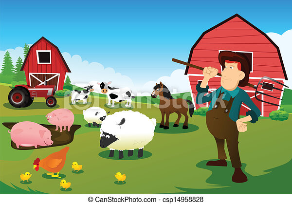 Farmer and tractor in a farm with farm animals and barn - csp14958828