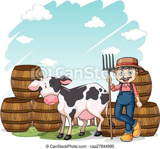Farmer beside the cow - csp27844995