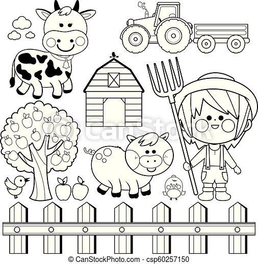 Farmer Boy And Animals Collection Black White Coloring Book Page