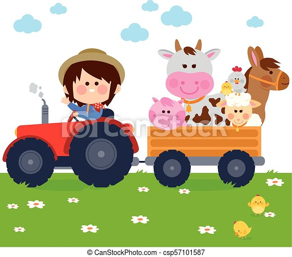 Farmer boy driving a tractor and carrying farm animals. Vector illustration - csp57101587