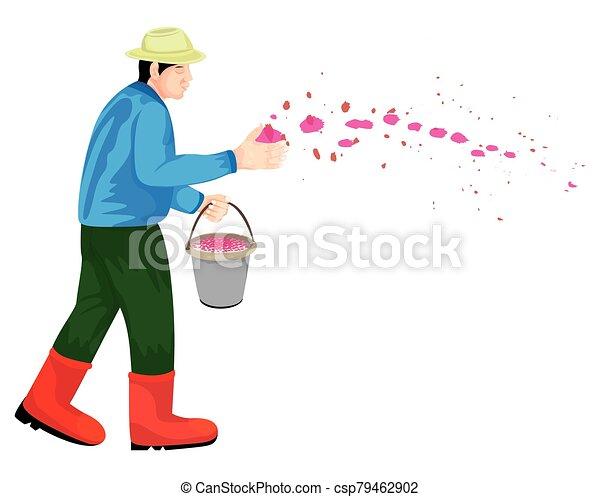 farmer cartoon shape on white background vector design - csp79462902