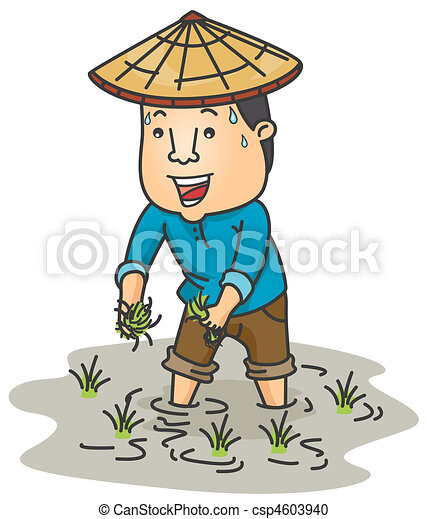 a farmer planting rice in his ricefield stock illustration search rh canstockphoto com farmer clipart indian farmer clipart images