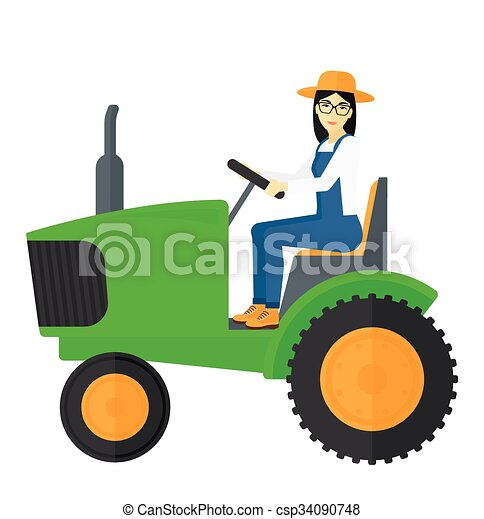 Farmer driving tractor. - csp34090748