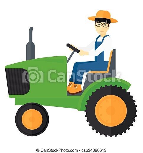 Farmer driving tractor. - csp34090613