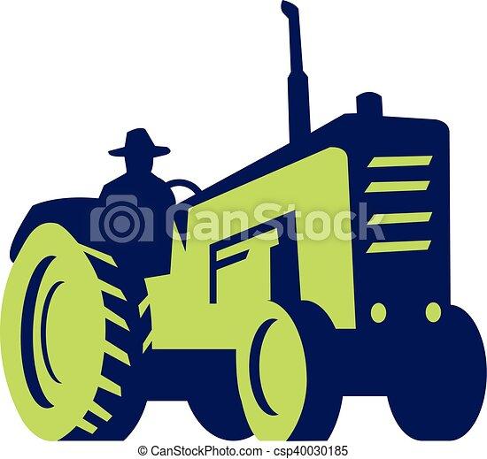 Farmer Driving Vintage Farm Tractor