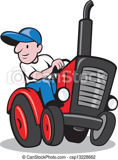 Farmer Driving Vintage Tractor Cartoon - csp13228662