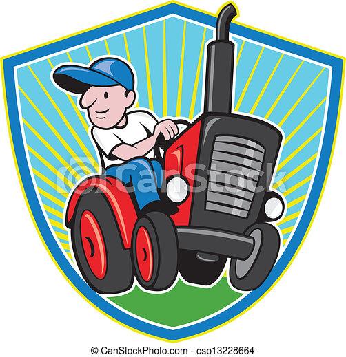 Farmer Driving Vintage Tractor Cartoon - csp13228664