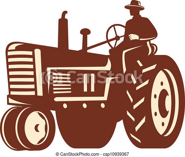 Farmer Driving Vintage Tractor Retro - csp10939367