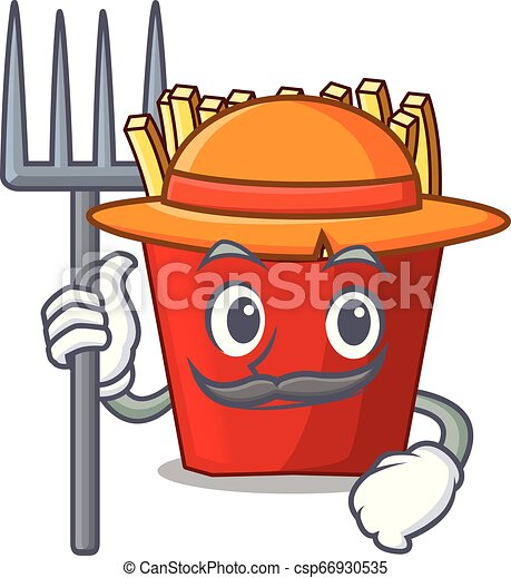 Farmer french fries above cartoon table wood - csp66930535