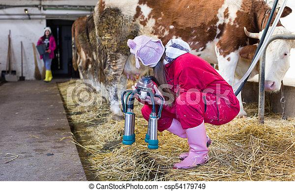 Girl Milking Machine